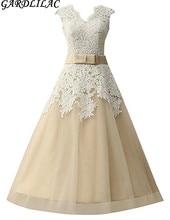 Gardlilac V neck Knee Length Lace Short font b Wedding b font Dress Champagne White Short