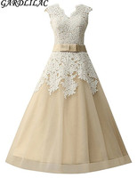 Gardlilac V Neck Knee Length Lace Short Wedding Dress Champagne White Short Bridal Gown With Sashes