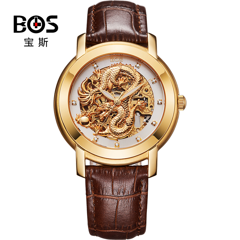 ANGELA BOS Chinese Dragon 3D Carving Gold Skeleton Mechanical Automatic font b Watch b font Men