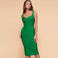 New Arrival Fashion Green Sleeveless Spaghetti Strap Sexy Solid Club Party Dress Outfit Casual Formal Elegant Dresses Wholesale