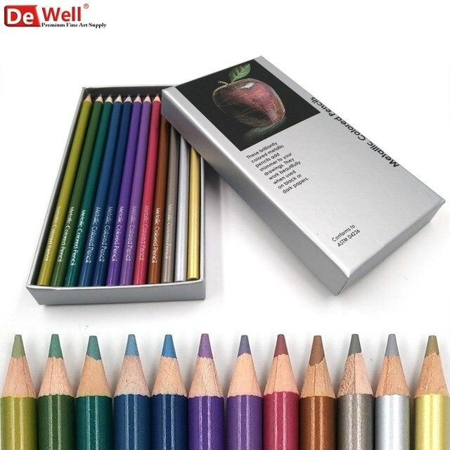 Hadiah 12 Set Pensil Warna Metalik Berwarna Pensil Gambar Pensil