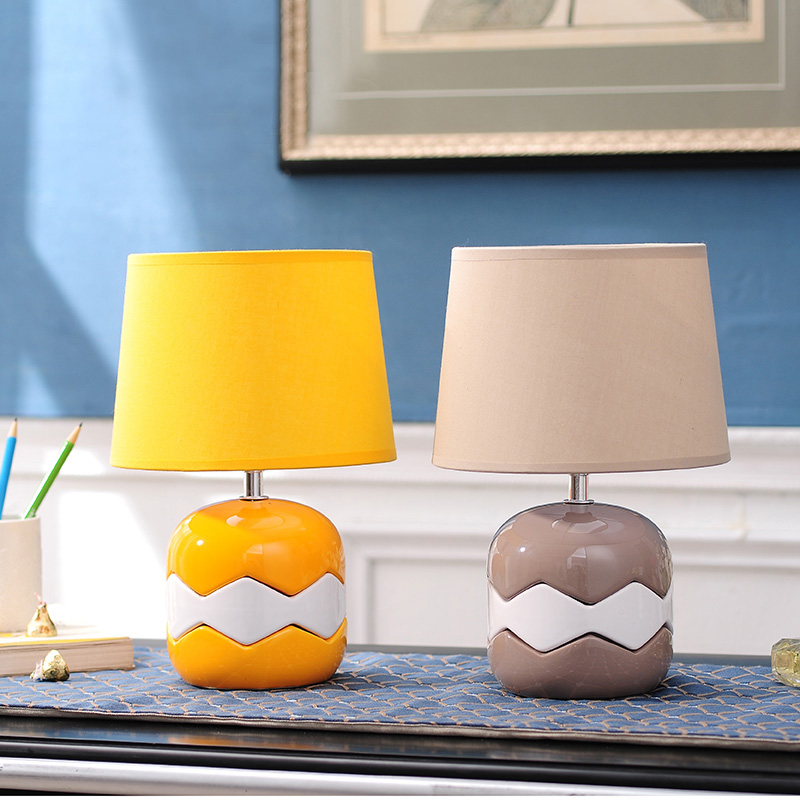 2 Colors Creative Modern Ceramic Fabric Table Lamp For Bedroom Desk Lamp luminaria de mesa For Children's Room veilleuse enfant 5 colors ceramic table lamp for living room desk lamp luminaria de mesa for kid s room