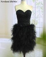 Потрясающий черный ручной работы кристаллы коктейльное платье Sexy Милая страуса Перо по колено женские вечерние платья
