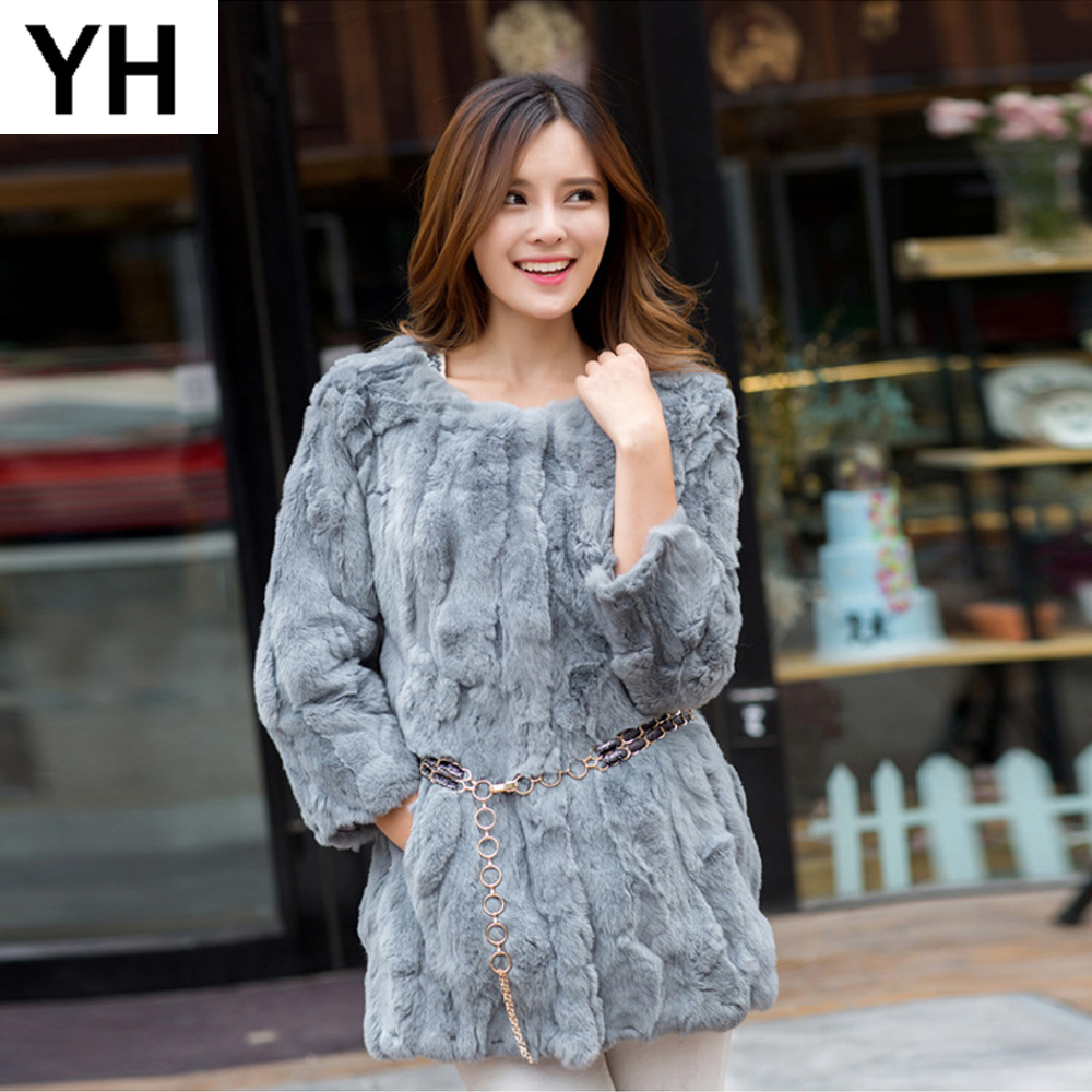 New Real Rex Rabbit Fur Coat Long Style Genuine Real Rex Rabbit Fur Jacket 100 Natural