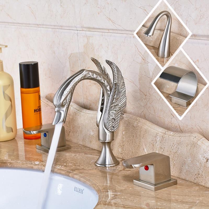 Widespread 3pcs Bathroom Sink Faucet Dual Handles Three Holes Mixer Tap Brushed Nickel antique brass widespread bathroom faucet 3pcs 8 sink mixer tap dual handles