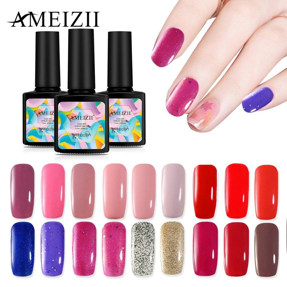 AMEIZII Gel Nail Art Polish Soak Off UV LED For Nail Art Design Manicure Top Base Coat Semi Permanent Primer Nail Gel Varnish