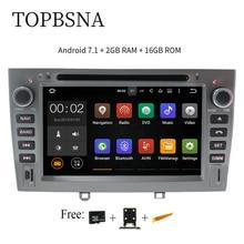 TOPBSNA 7 «1024*600 4 ядра Android 7,1 автомобильный DVD для peugeot 308 408 308SW с 3g WI-FI радио gps навигации Поддержка OBD BT МЖК