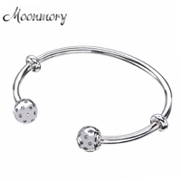 Moonmory Fashion Open Bangle With Screw Caps Original 925 Sterling Silver Bead Bracelet With Clear Zircon