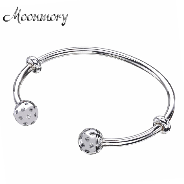 Moonmory Fashion Open Bangle with  Screw Caps Original 925 Sterling Silver bead Bracelet with Clear Zircon For Woman Diy Jewelry
