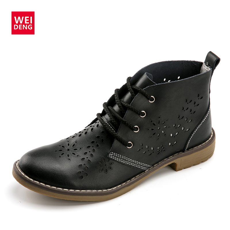 WeiDeng Genuine Leather Brogue Martin Boot Oxford Motorcycle Boots Lace Up Women Flats Ankle Rubber Shoes Winter Large Size brogue boots two tone