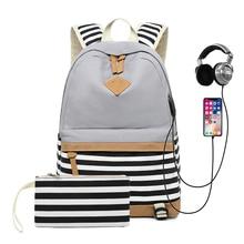 New 2 set USB stripe Women Backpacks Canvas Fresh Style Bookbag School Bag For Girls boys Female Travel Backpack Laptop bagpack все цены
