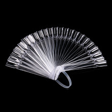 32 PCS Nail Art Stick Display Clear Fan Shaped False Tips Wheel Polish UV Gel PracticeTransparent Foldable Manicure Tool 9.6