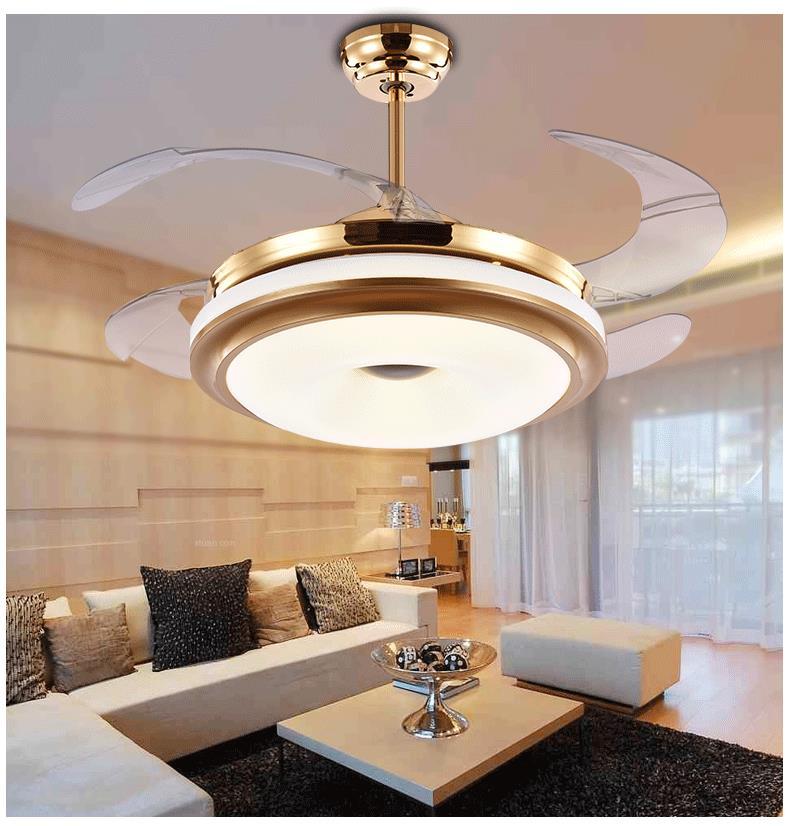 Ceiling Fans LED stealth light fashion fan shrinkable bedroom living room dining room hotel lights remote control ZA