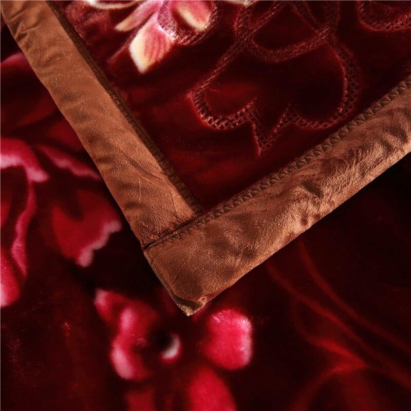 Темно коричневый цветочный Корона со стразами Рашель Одеяло двойной Слои супер мягкие одеяла с тиснением; зимняя теплая кровать для взросл... - 6
