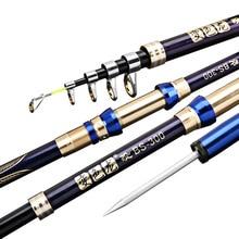 คาร์บอนไฟเบอร์ telescopic spinning fishing rod 2.1 3.6 M hard สั้น travel sea rod ปลาคาร์พเบส stick H power เสา