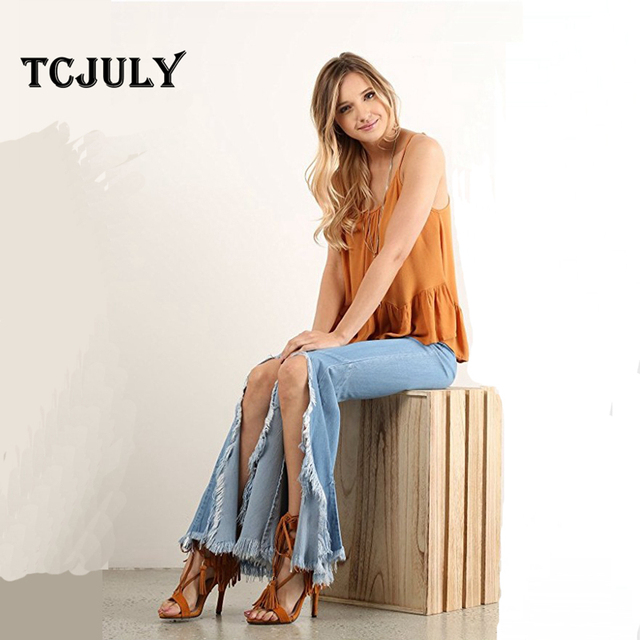 New Fashion Tassel Decorated Stretched Elegant Casual Women Skinny Denim Jeans Bleached Bell Bottoms Push Up Pants