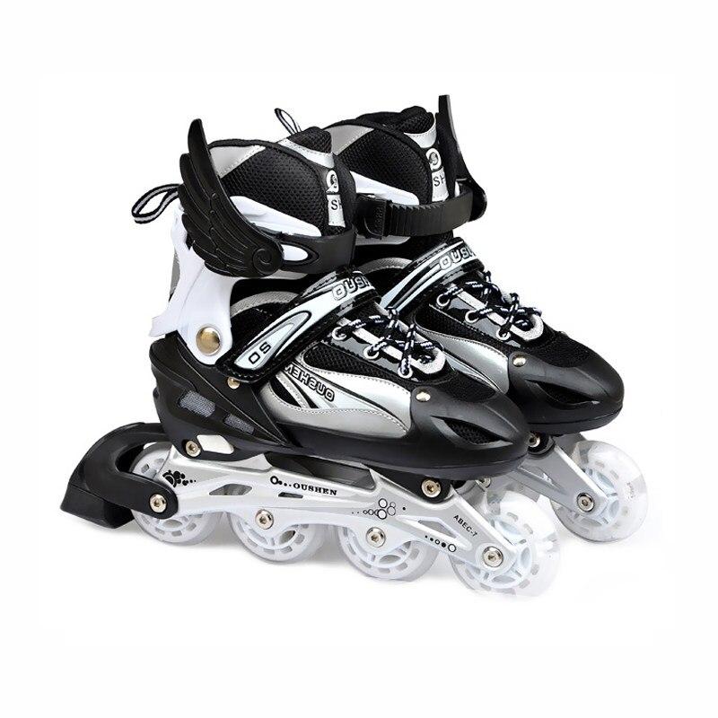 Flashing Roller Skates Sepatu untuk Anak 4 Roda Inline Skating Menyesuaikan  Jalan Slalom Geser Quad Skates 93b6296db5