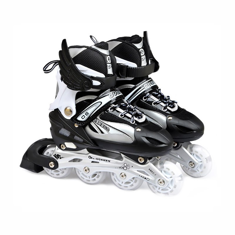 Flashing roller skates Shoes for children 4 wheel inline skating adjust street slalom sliding quad skates patines en linea IA50