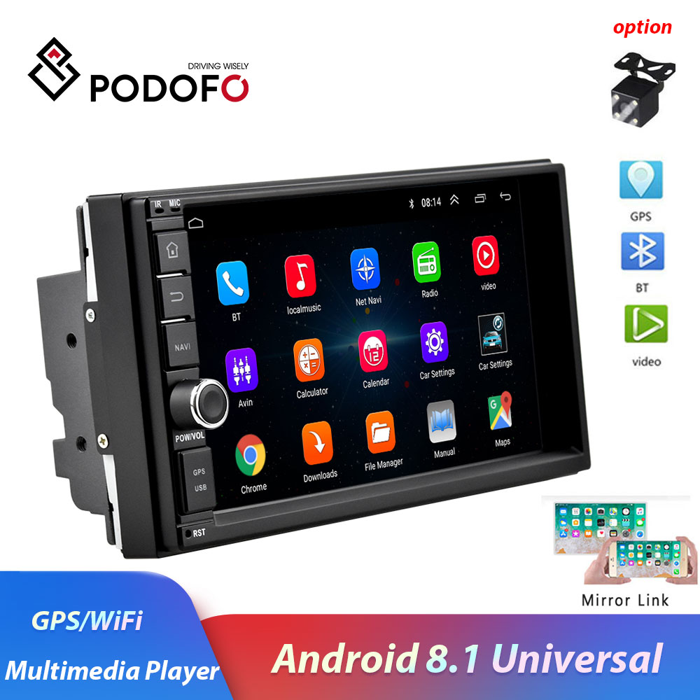 Podofo 2 din 7 Android 8.1 Car Radio WIFI GPS navi Bluetooth Mirror Link Multimedia Player for universal 2DIN audio Stereo