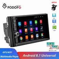 """Podofo 2 din 7 """" Android 8.1 Car Radio WIFI GPS navi Bluetooth Mirror Link Multimedia Player for universal 2DIN audio Stereo"""