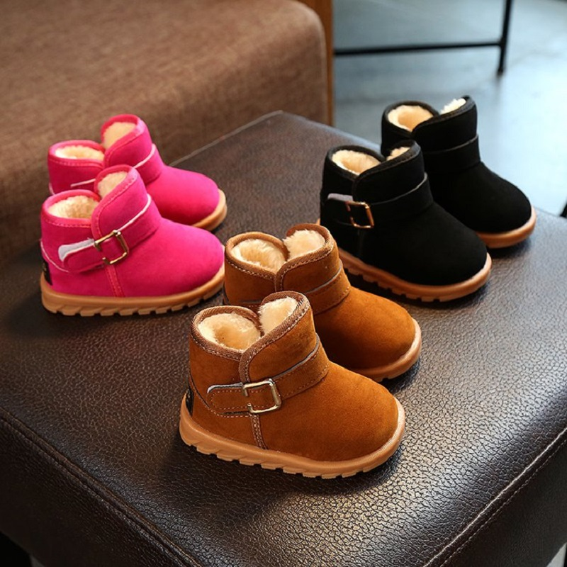 Baby's Snow Shoes 2019 New Popular Plus Velvet Warm Anti slip Cotton Shoes
