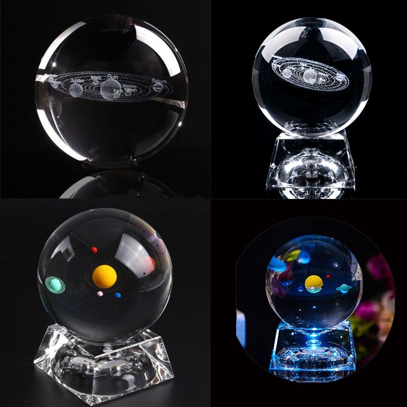 Glow In The Dark 3D Solar System Planets Glowing Miniature Solar System Model Crystal Ball Laser Engraved Planets Ball For Decor