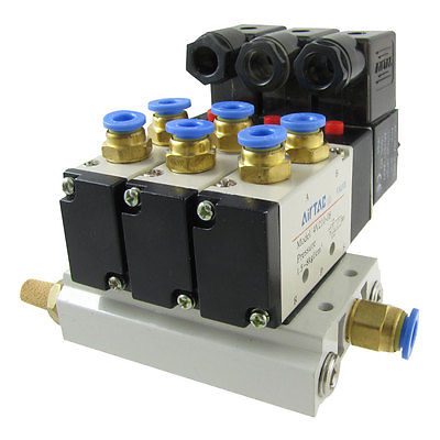 High quality 4V210-08 2 Position 5 Way Pneumatic Solenoid Valve w Muffler Base  Free shipping high quality ac220v 2v025 electromagnetic 2 position 2 way solenoid valve free shipping