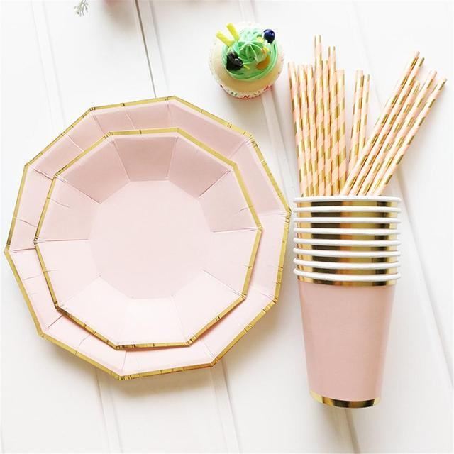 Gold Blocking Disposable Tableware Sweet Pink One-off Paper Plates Cup Straws Birthday Party Wedding Carnival Tableware Supplies