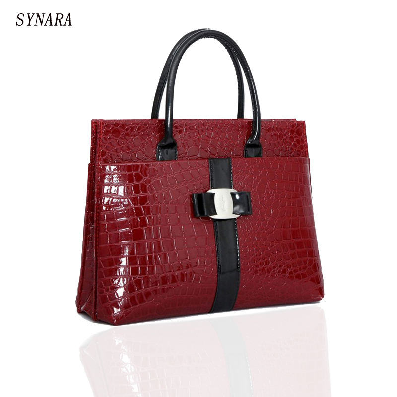SYNARA New Luxury OL Lady bags handbags women famous brands Crocodile Pattern Hobo Handbag Tote Fashion Lady PU Shoulder handbag