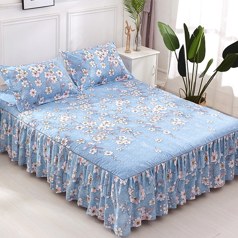 Romantic Two Layer Bed Skirt Thickened Sanding Bedspread Fitted Sheet Cover Soft Non-Slip  Bed Skirts
