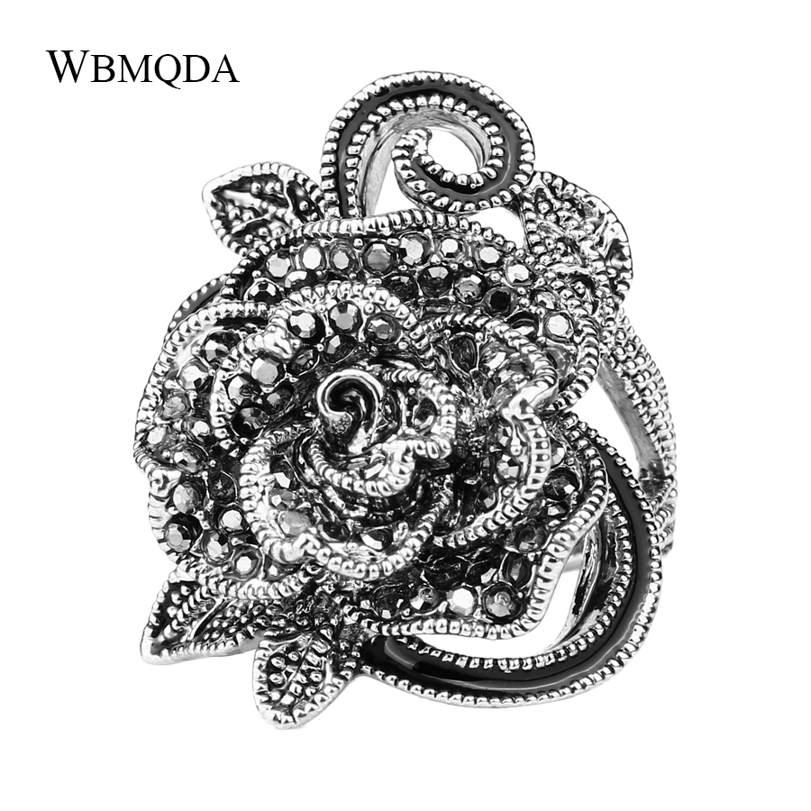 2018 New Punk Gothic Black Crystal Flower Rose Ring Vintage Antique Silver Big Love Rings For Women Fashion Wedding Accessories