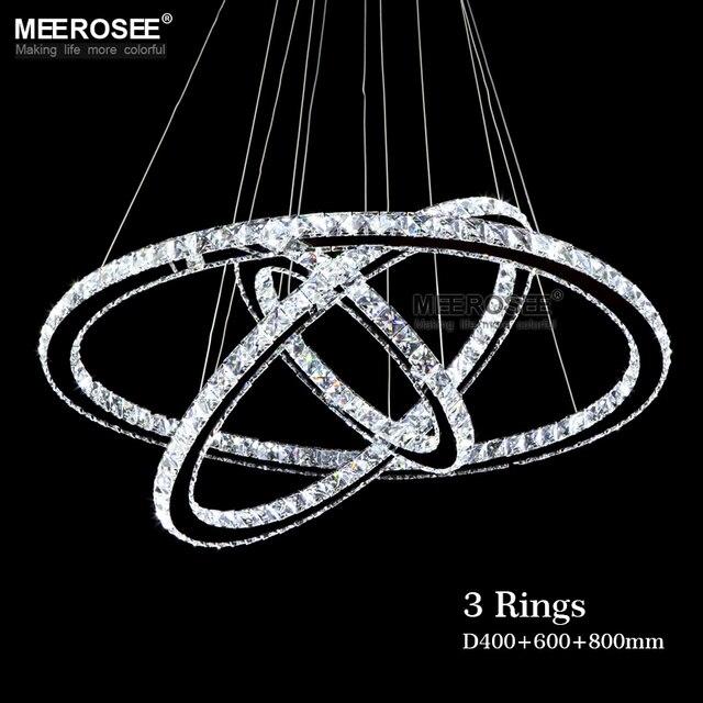 MEEROSEE 3 Diamond Ring Crystal Fixture Pendant Light suspension Modern LED Lustres