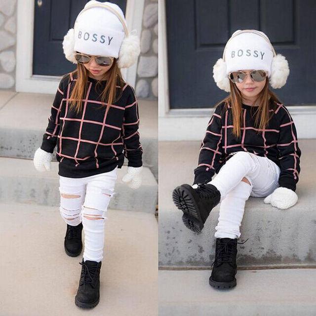 2 UNIDS Moda Ropa de Bebé Niña Niño Niños del Otoño Traje de Invierno Cálido Suéter de Manga Larga Tops + Pantalones de Mezclilla prendas de Vestir traje