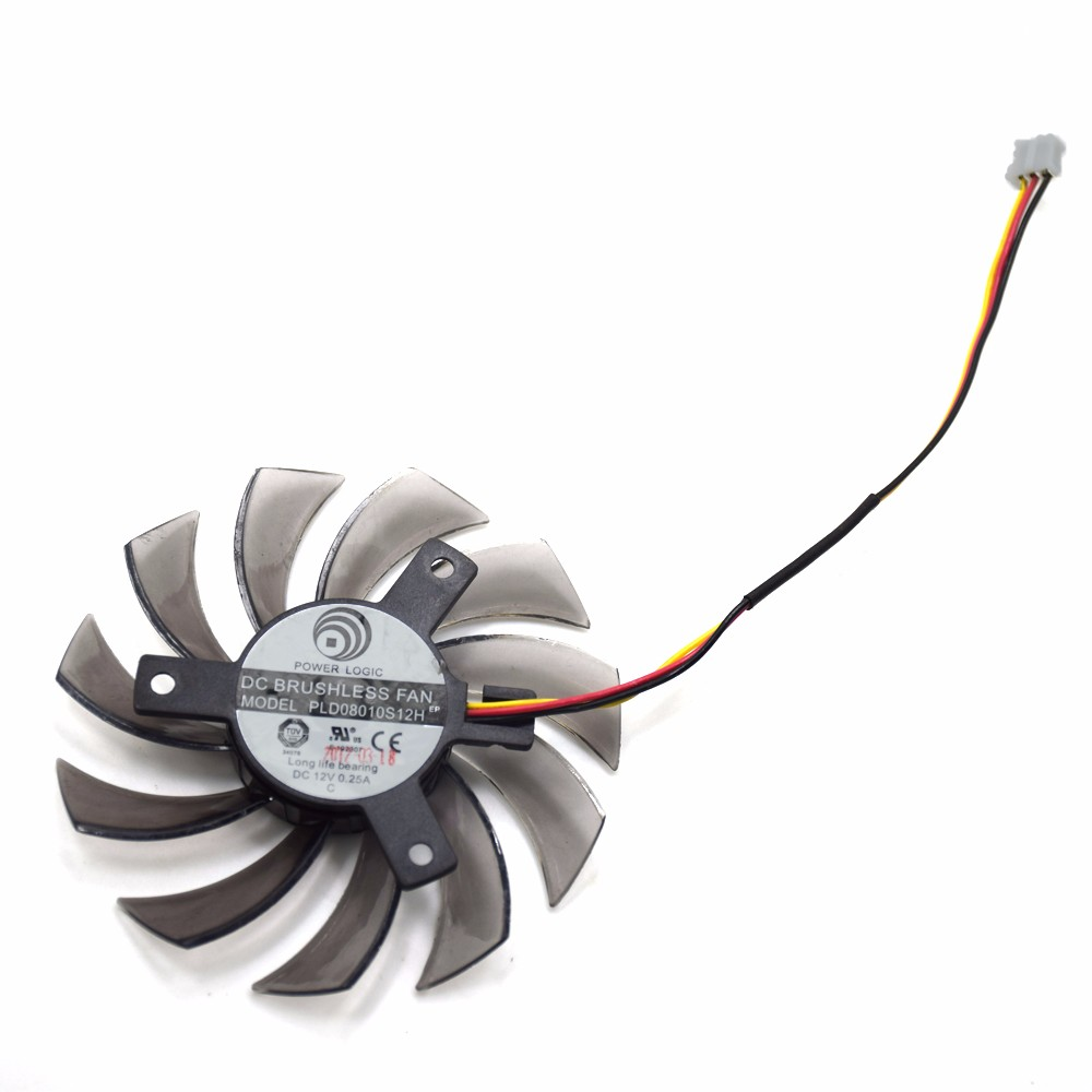 75MM Power Logic PLD08010S12H DC 12V 0.25A 3Pin Computer Cooling Fan Gigabyte Geforce GTX 570 630 750TI Graphics Video Card 2