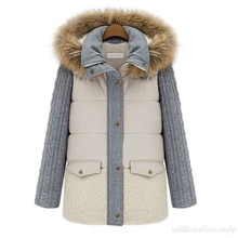Woman Ukraine Winter Knitted Sleeve Warm Windcheater Hooded Cheap C Jacket Thick Faux Fur Collar Coat