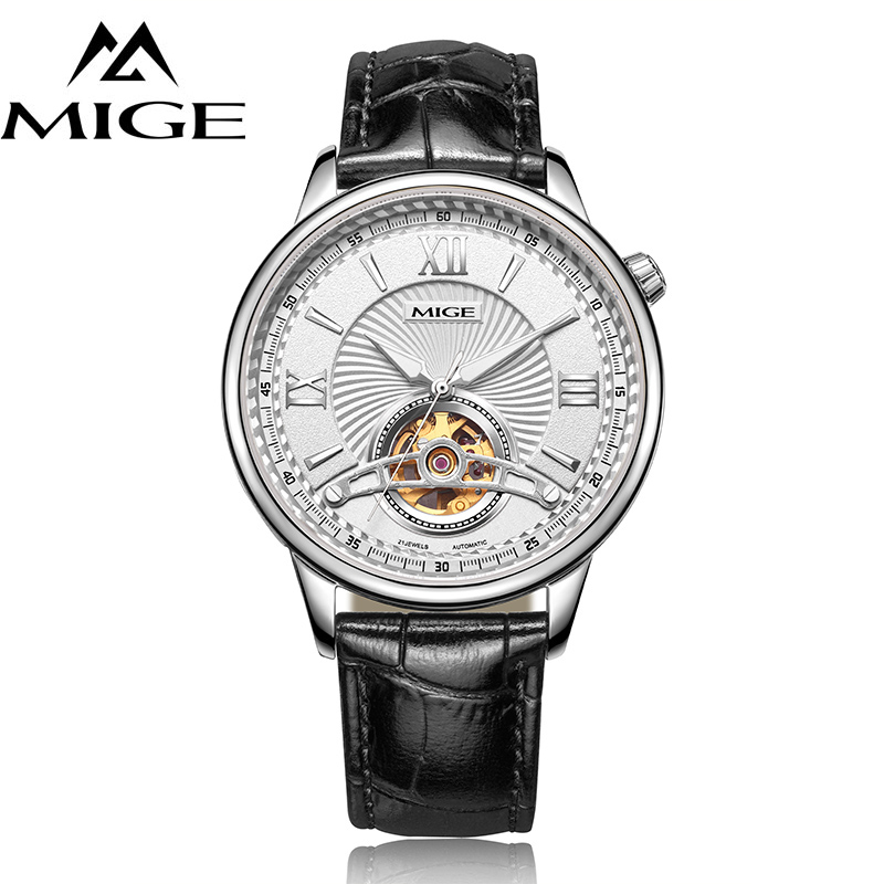MIGE Luxury Watches Men Tourbillion Mechanical Wristwatch Synthetic Sapphire Crystal Genuine Leather Strap Relogio Masculino mige luxury watch men automatic watches tourbillion hollow skeleton waterproof synthetic sapphire glass stainless steel bracelet