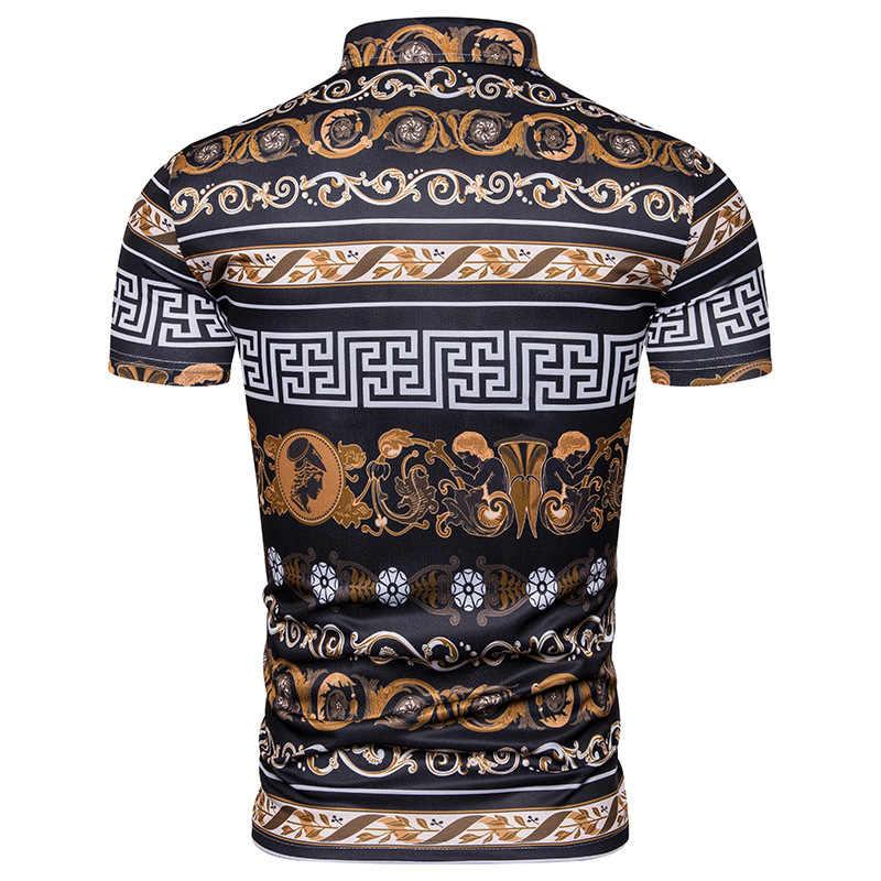 2019 夏のファッションプラザプリントメンズポロシャツ、半袖プリントカジュアルシャツ男性