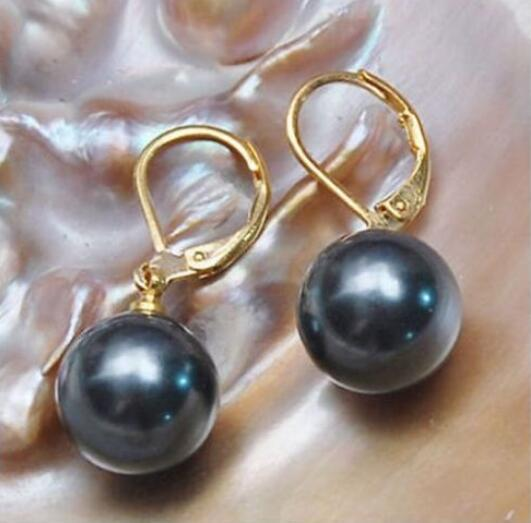 A pair 10-11mm natural south sea genuine black round pearl earring14k 521AAA