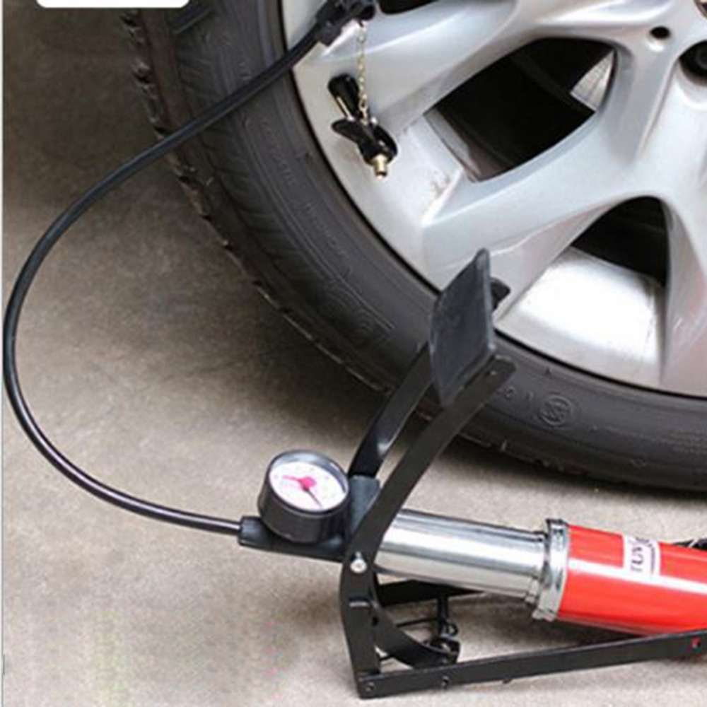 Portable Car Vehicle Boat Tyre Foot Air Pump Inflater Bike Ball Pressure Gauge