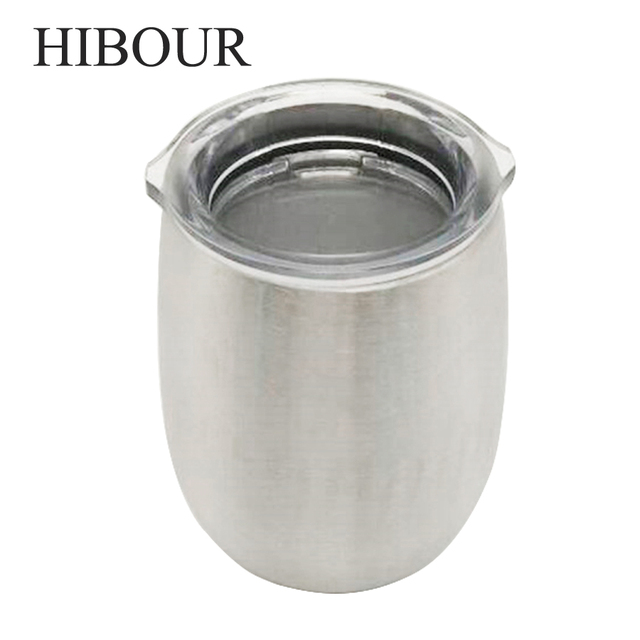 Hibour Water Bottle Beer Coffee Mugs With Clear Lid Sliver Metal Insulated Tumbler Travel Double Layer