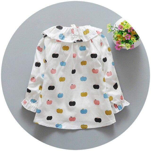 Девочка яблоко печать рубашка 2016 дети девушки блузка весна детская одежда дочернего топы одежда