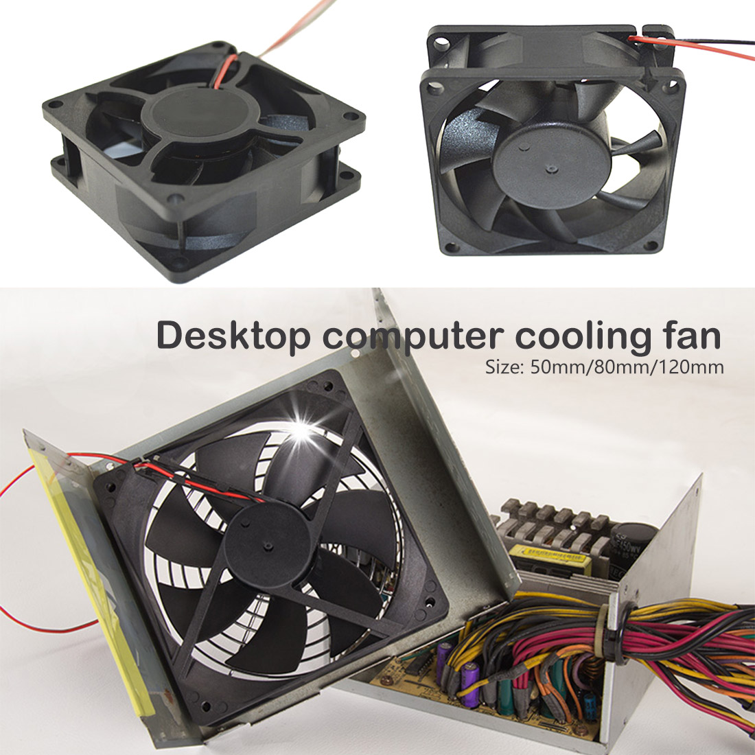 Portable Computer <font><b>Fan</b></font> Cooler 50mm 80mm <font><b>120</b></font> <font><b>mm</b></font> 12V 2 Pin <font><b>PC</b></font> CPU Cooling Cooler <font><b>Fan</b></font> for for Computer Case CPU Cooler Radiator image
