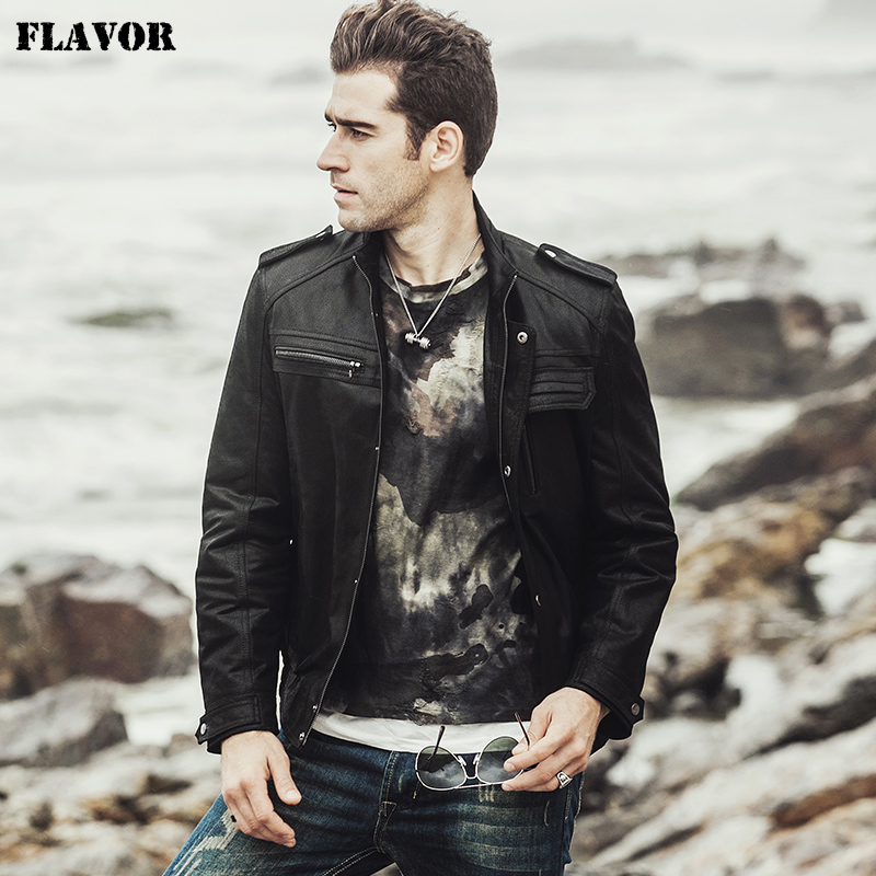 FLAVOR 2017 NEW Winter Men s Motorcycle Genuine leather jacket male Retro Real leather jacket NEW Winter Men's Motorcycle Genuine leather jacket male Retro Real leather jacket