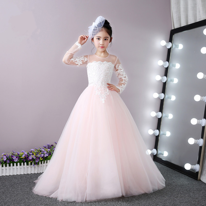 New Pink Tulle Long Sleeve Flower Girl Dress White Lace Princess First Communion Dress Girls Pageant Gown 100% Actual Image ccq fashion vintage cow leather bracelet eiffel tower watches casual women crystal tower pendant quartz watch relogio feminino