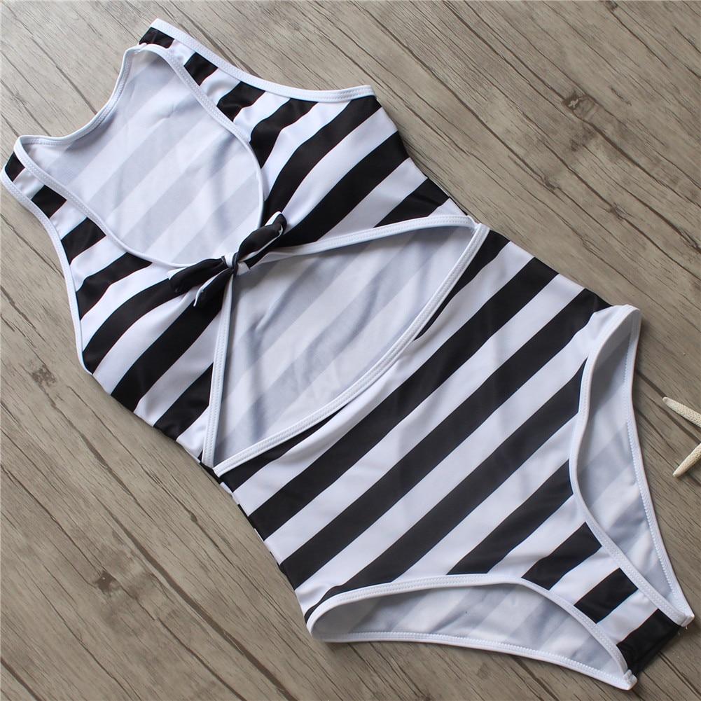 2019 Sexy Push Up Swimwear Women One Piece Swimsuit Knotted Bodysuit High Cut Monokini High Waist Bathing Suit Female Beachwear