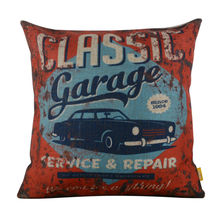 LINKWELL 18×18″ Vintage Rusted Old Car Garage Service Burlap Cushion Cover Throw Pillowcase For Men Man Cave
