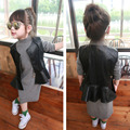 2016 New Arrival Girls Leather Vest and Long Sleeve Dress For Kids two piece Leather Girls Fashion Winter Dress