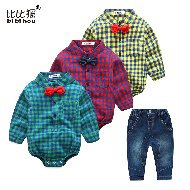 Spring Autumn Baby Boy Clothes roupa infantil Romper Long Sleeve romper + jean gentleman baptism baby body suits baby clothes