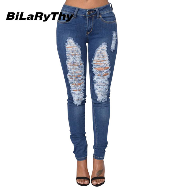 BiLaRyThy Skinny Women Blue Jeans Low Waist Washed Ripped Holes Distressed Cotton Denim Pants Female Elastic Slim Trousers