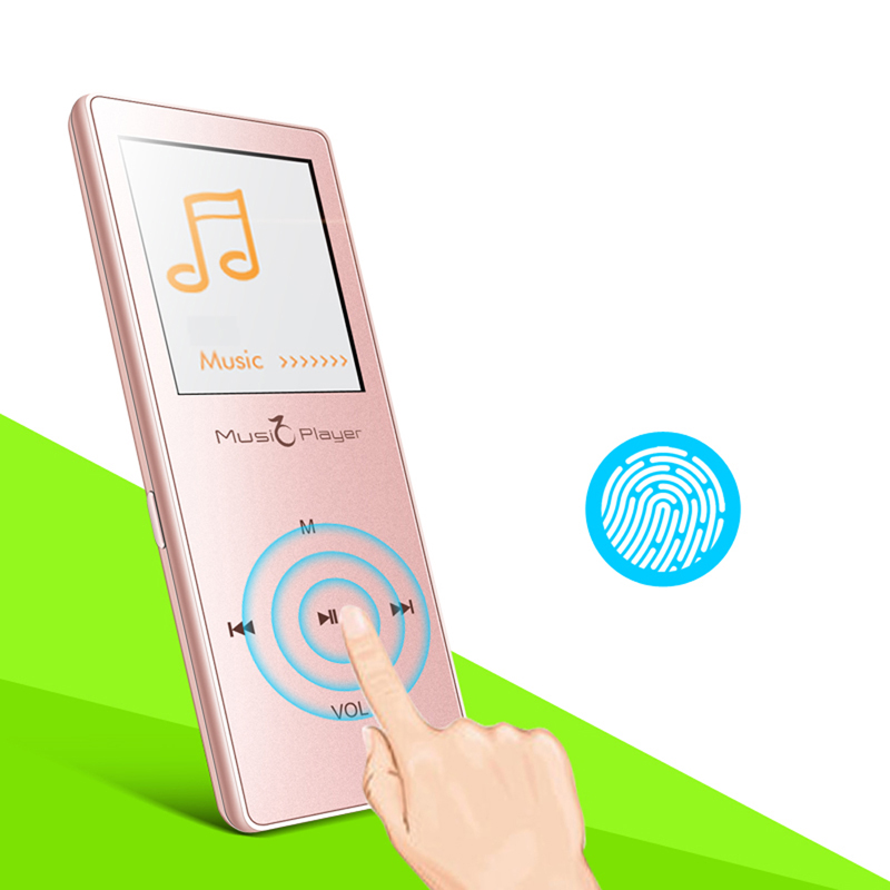 Ultrathin Touch button HIFI Lossless Sound Bluetooth mp3 Music Player 1.8 inch FM Voice recording Pedometer Media Audio Player